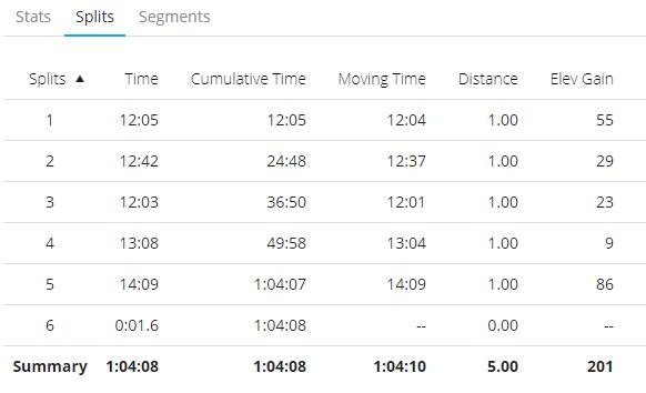 5 mile splits